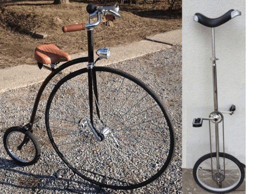 stylowy bicykl, baaardzo wysoki monocykl